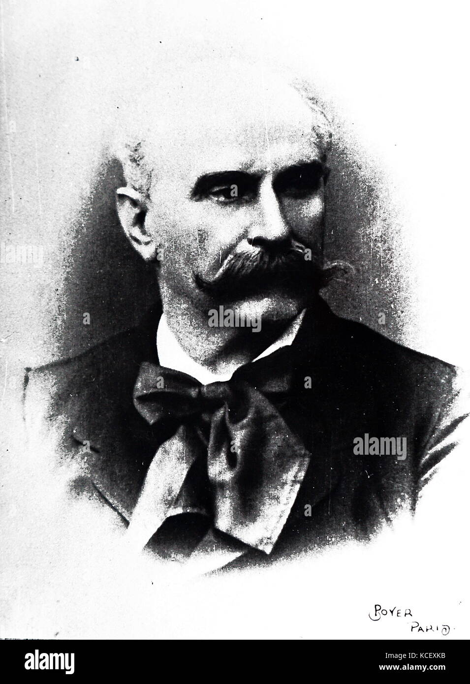 Photograph of an unknown French 19th century man with a large moustache. Dated 19th Century - Stock Image