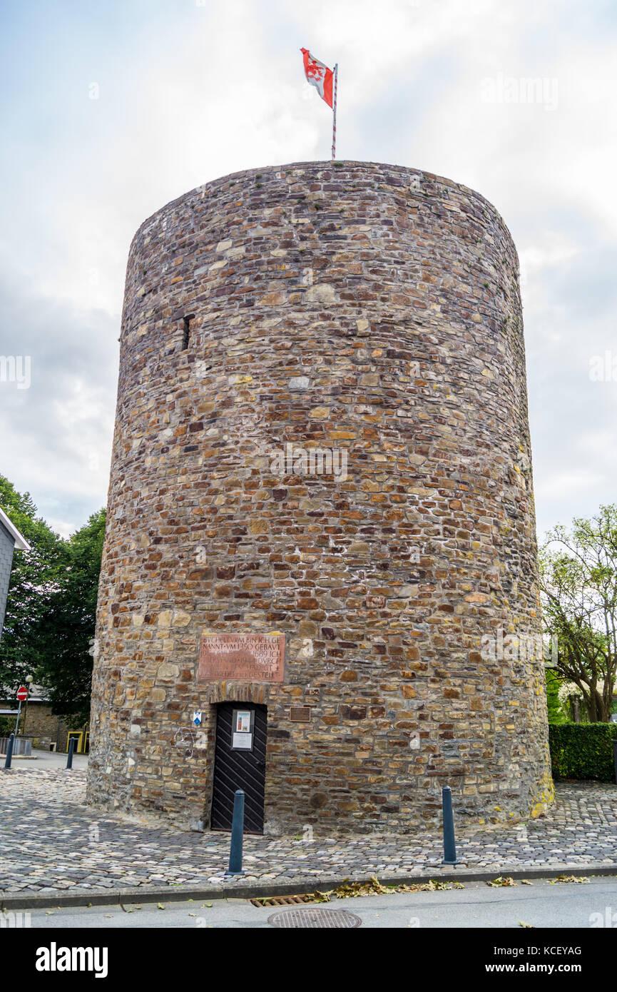 Büchelturm, 14th century watch tower on the mediaeval town walls, St. Vith, Ostbelgien (Cantons de l'Est), Belgium Stock Photo