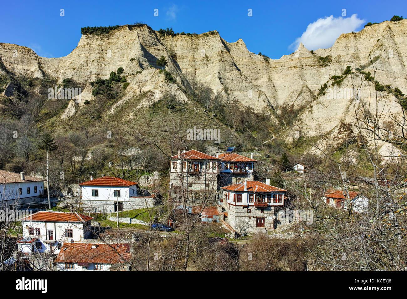 Panorama to ancient Melnik town and sand pyramids, Blagoevgrad region, Bulgaria - Stock Image