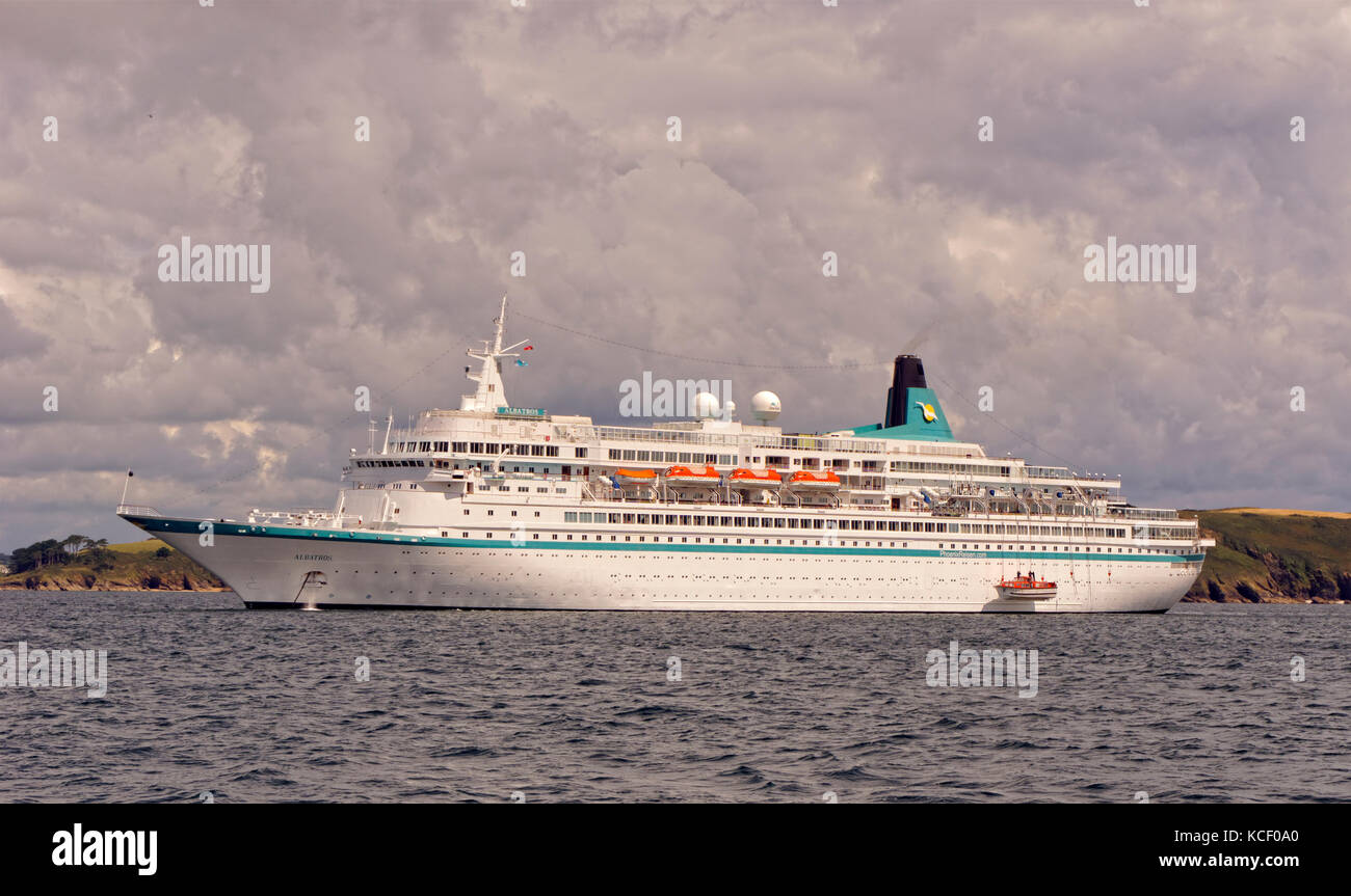 Cruise ship 'Albatros' anchored in the Carrick Roads, Falmouth, England, UK. Stock Photo
