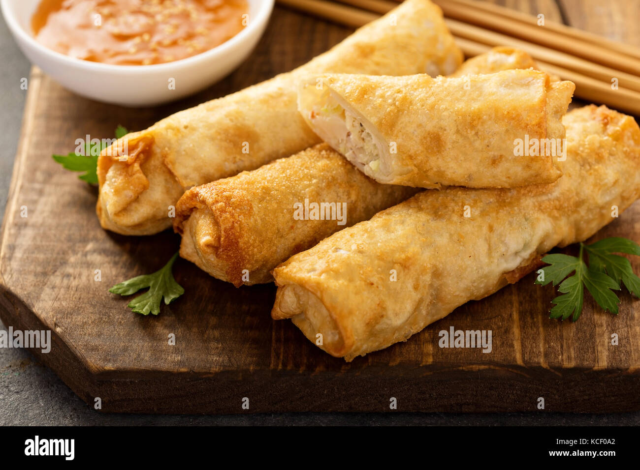 Egg rolls with cabbage and chicken - Stock Image