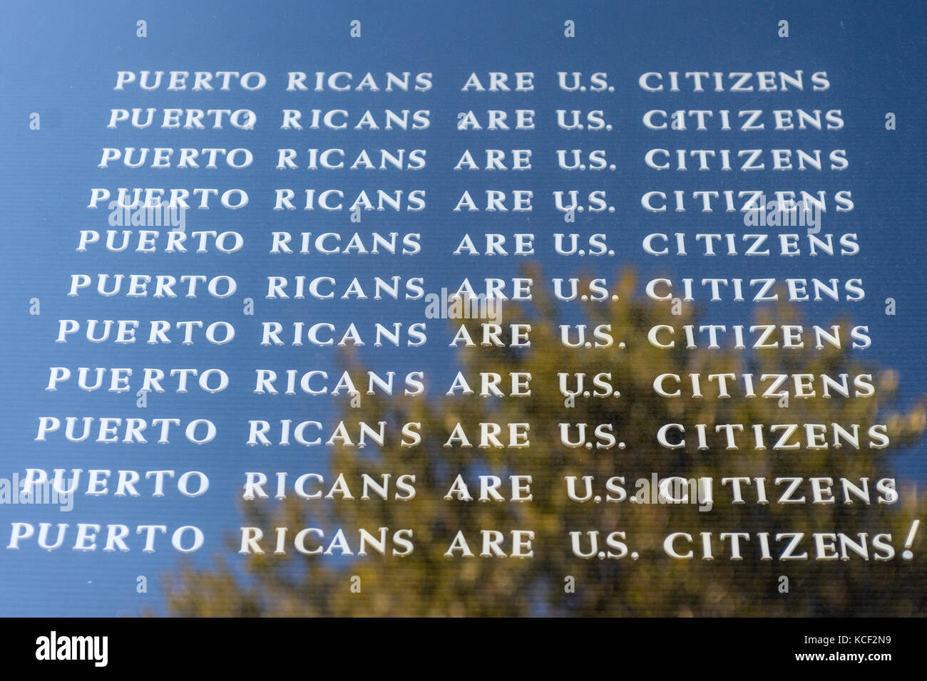 New York, USA. 4th Oct, 2017. Sign outside Judson Memorial Church stating Puerto Ricans are US Citizens, calling Stock Photo