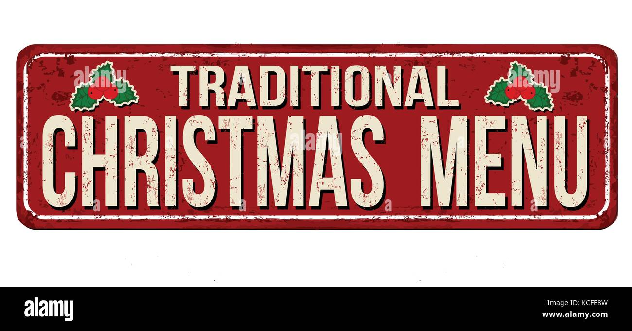 Traditional Christmas Menu Vintage Rusty Metal Sign On A White Stock