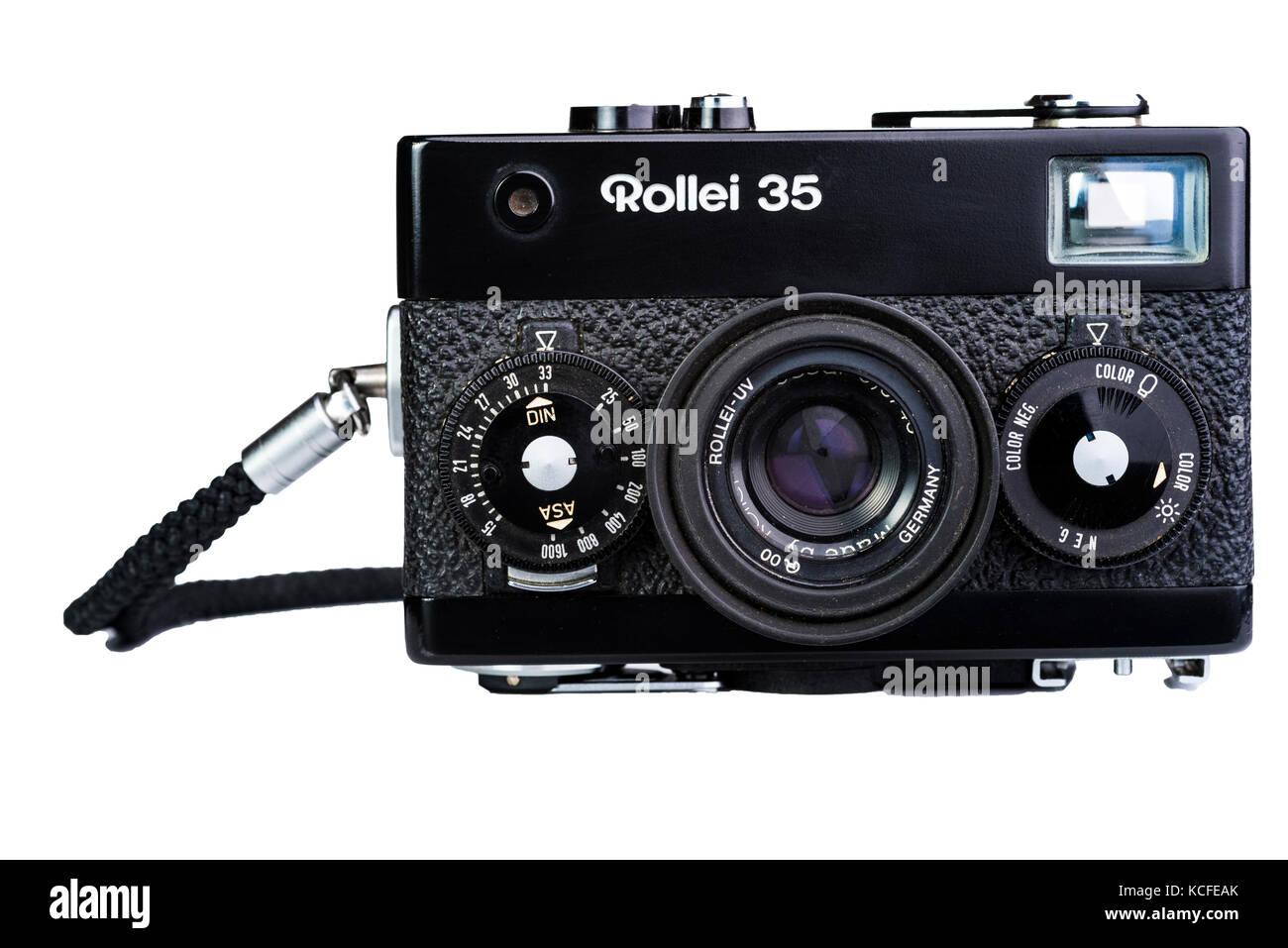 Rollei 35 compact film camera. Vintage old nostalgia. - Stock Image