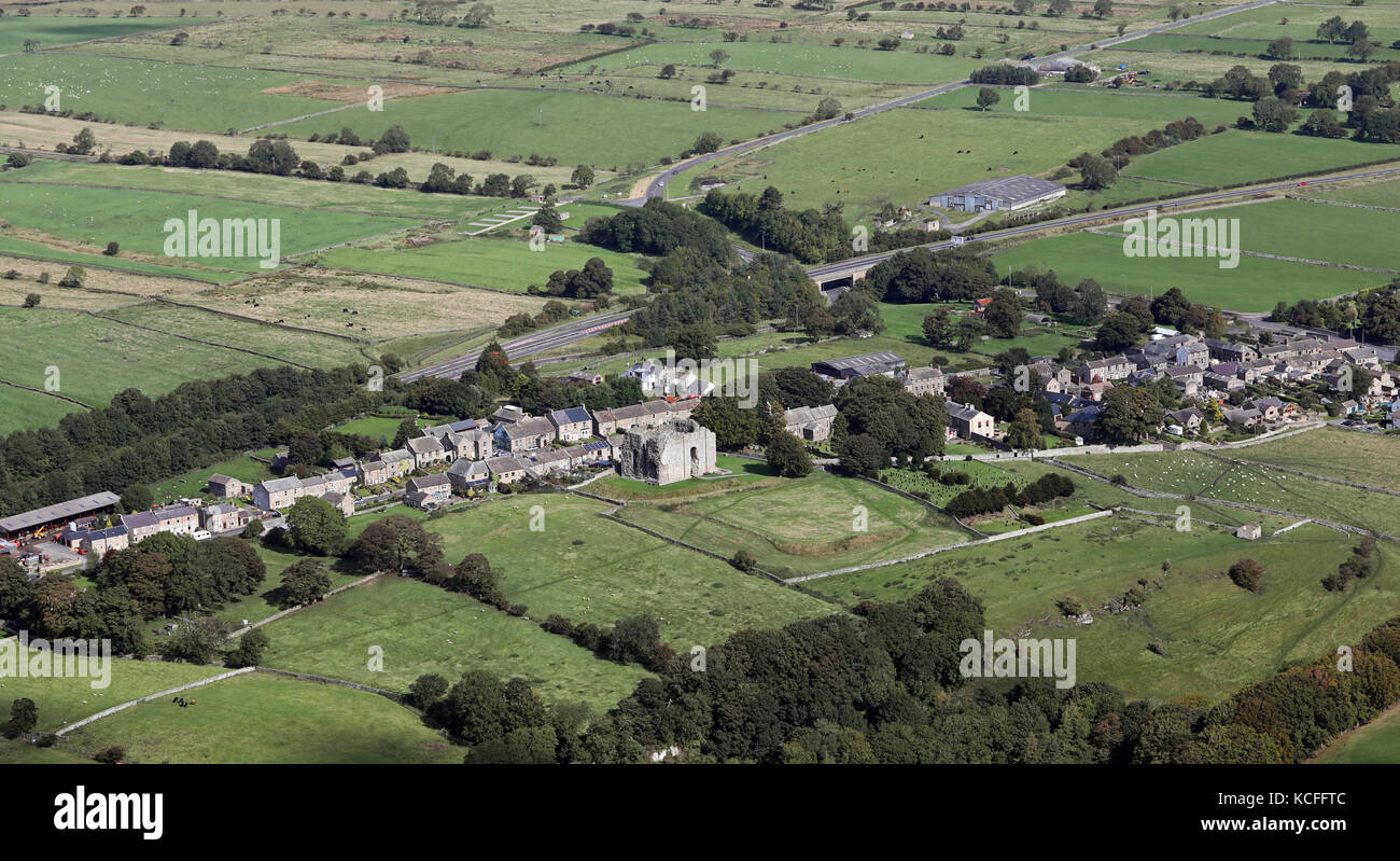 aerial view of the village of Bowes, near Barnard Castle, County Durham, UK - Stock Image