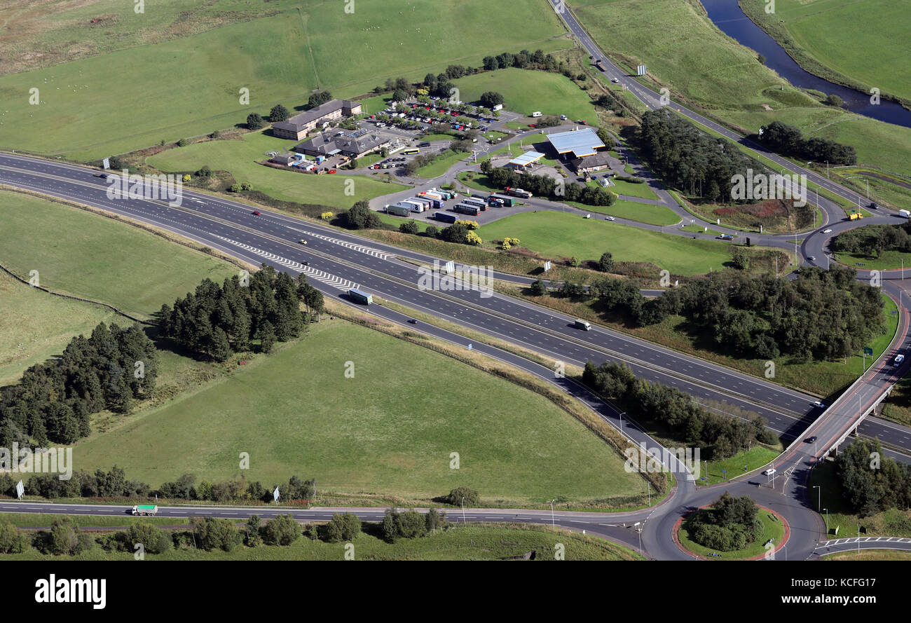 aerial view of Welcome Break motorway services at Abington near Biggar, Scotland, UK - Stock Image