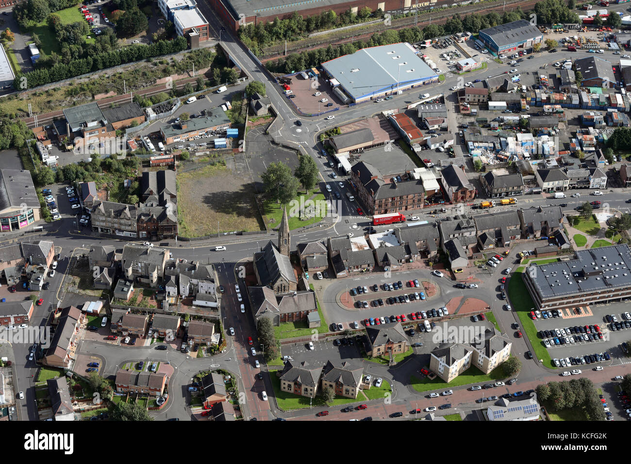 aerial view of the A721 main street in Motherwell, Scotland, UK Stock Photo