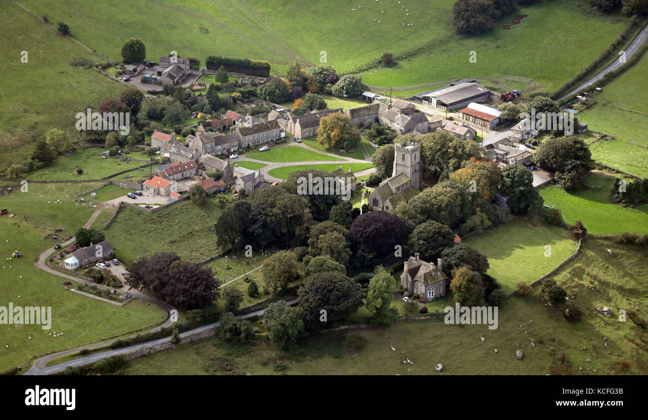 aerial view of Kirby Hill village near Richmond, North Yorkshire, UK - Stock Image