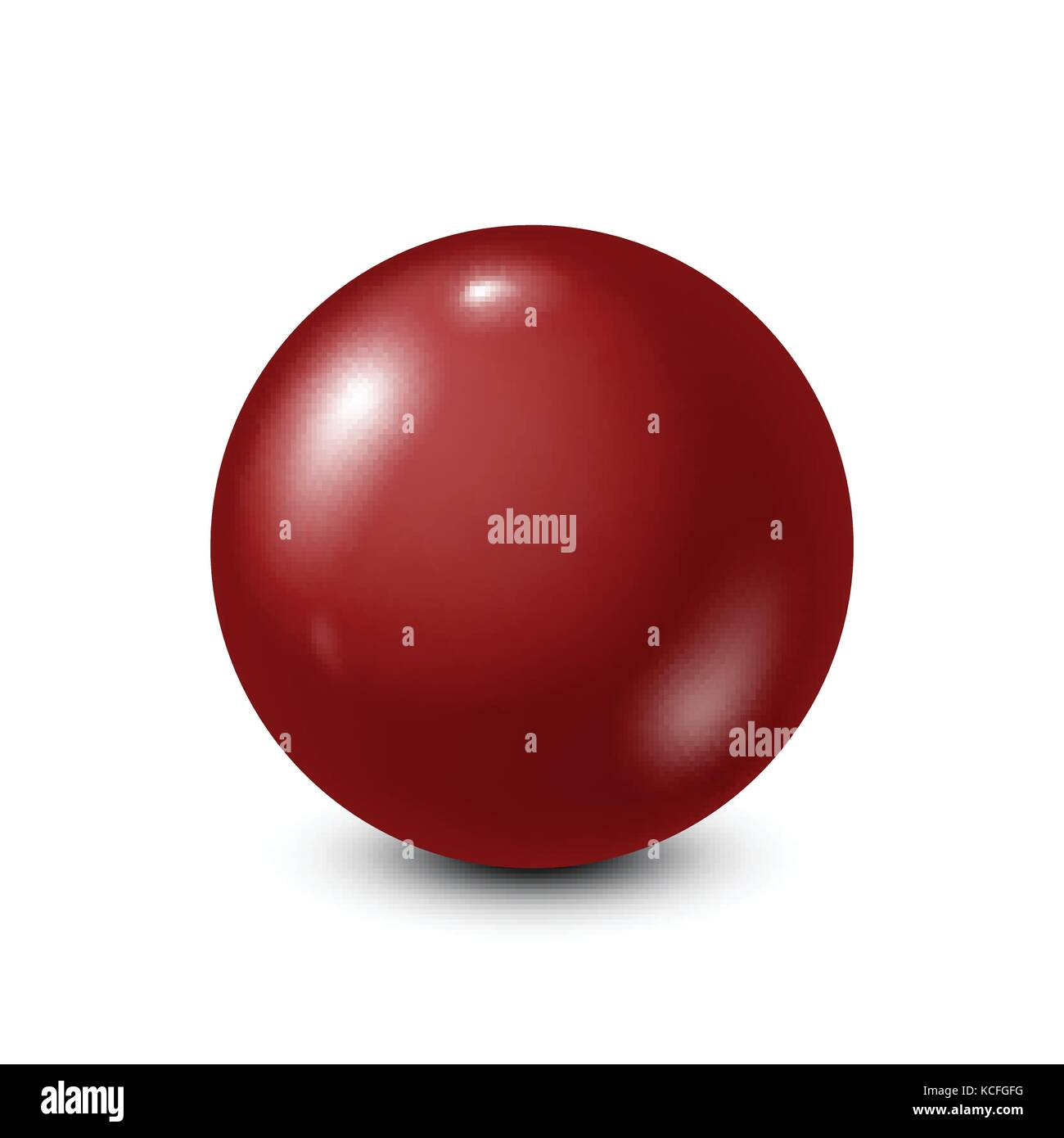 Dark red lottery, billiard,pool ball. Snooker. White background. Vector illustration. - Stock Vector