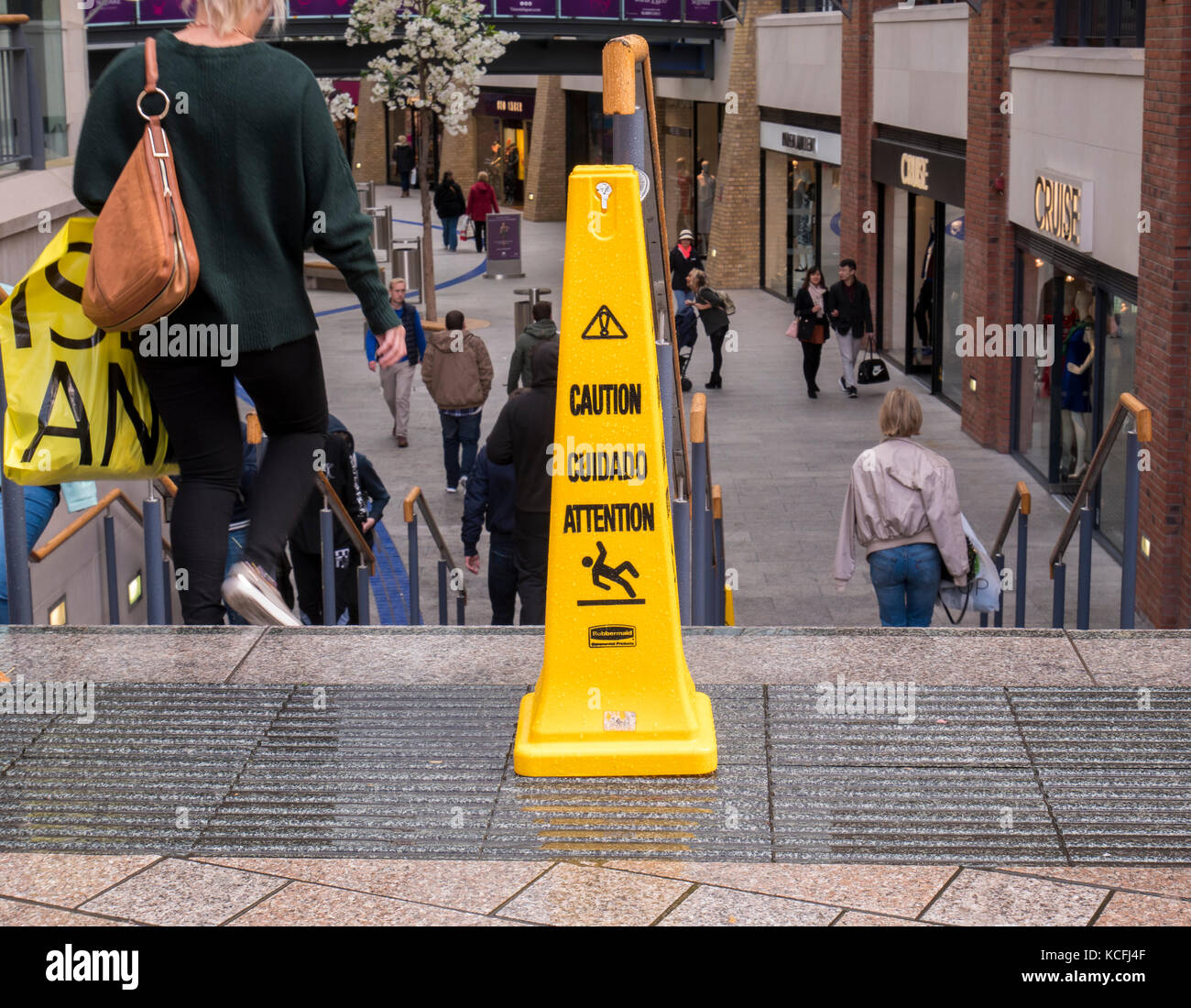 Warning of slippery steps at Victoria Square Shopping Centre, Belfast - Stock Image