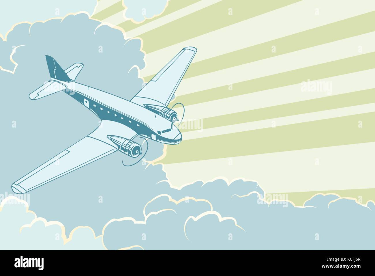 Retro airplane flying in the clouds. Air travel background - Stock Vector