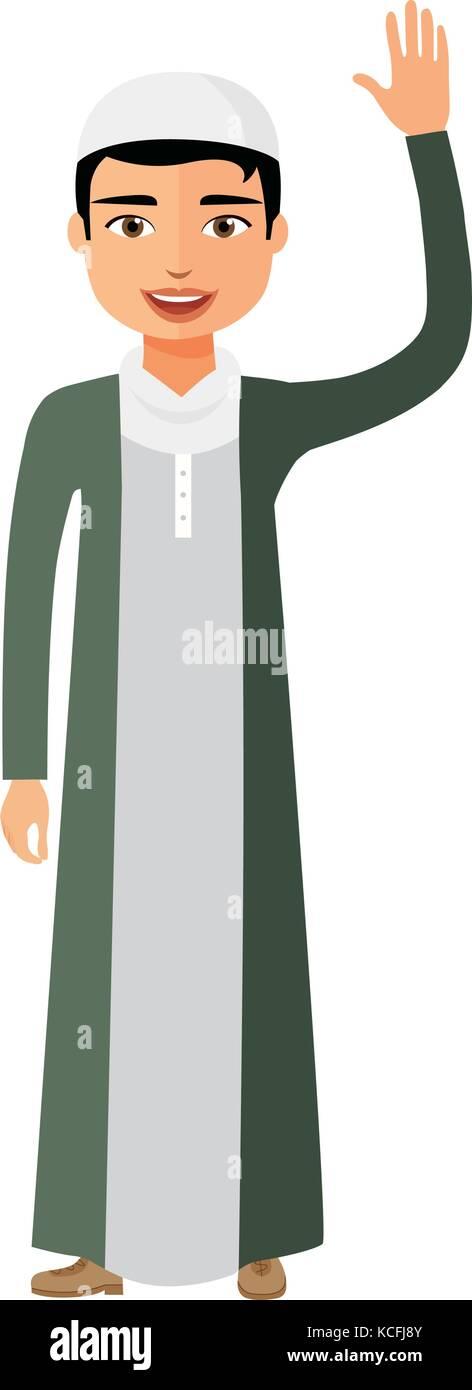 Cheerful young arab kuweit business man waving her hand vector flat cartoon illustration. - Stock Vector
