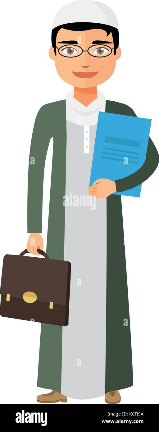 Arab saudi businessman with glasses and briefcase vector flat cartoon illustration. - Stock Vector