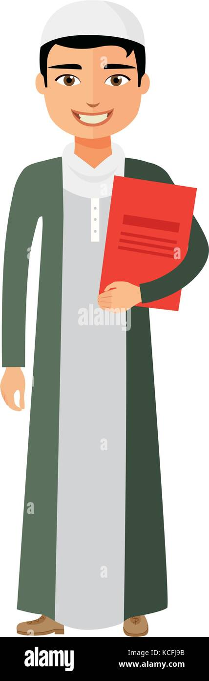 Arab businessman with briefcase vector flat cartoon illustration. - Stock Vector