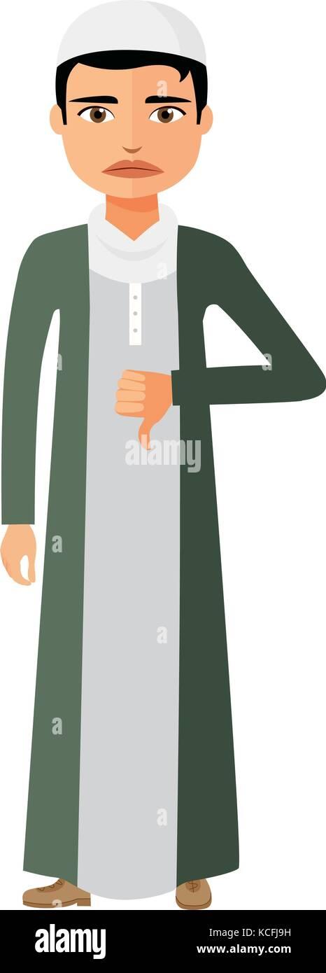 Muslim arab angry unhappy businessman character vector flat cartoon illustration - Stock Vector