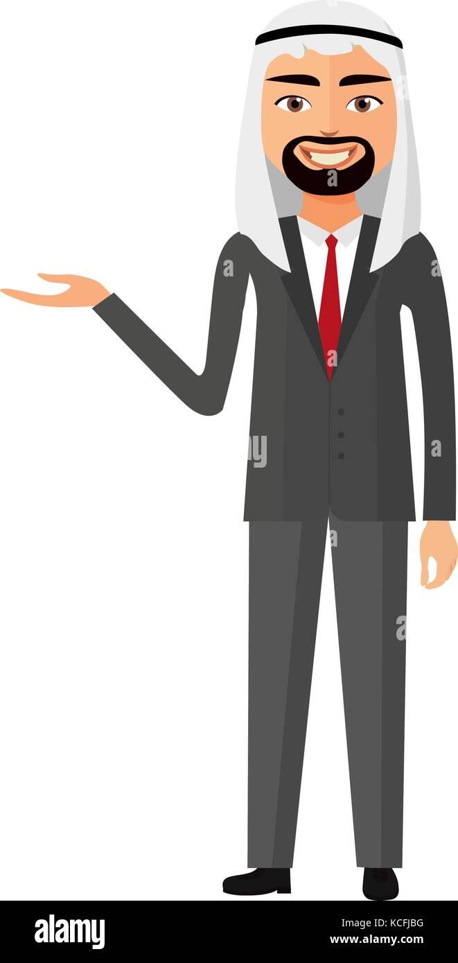 Arab yemen business man presents something vector flat cartoon illustration. - Stock Vector