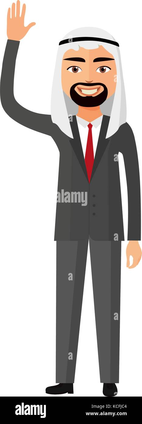 Cheerful arab saudi business man waving her hand vector flat cartoon illustration. - Stock Vector