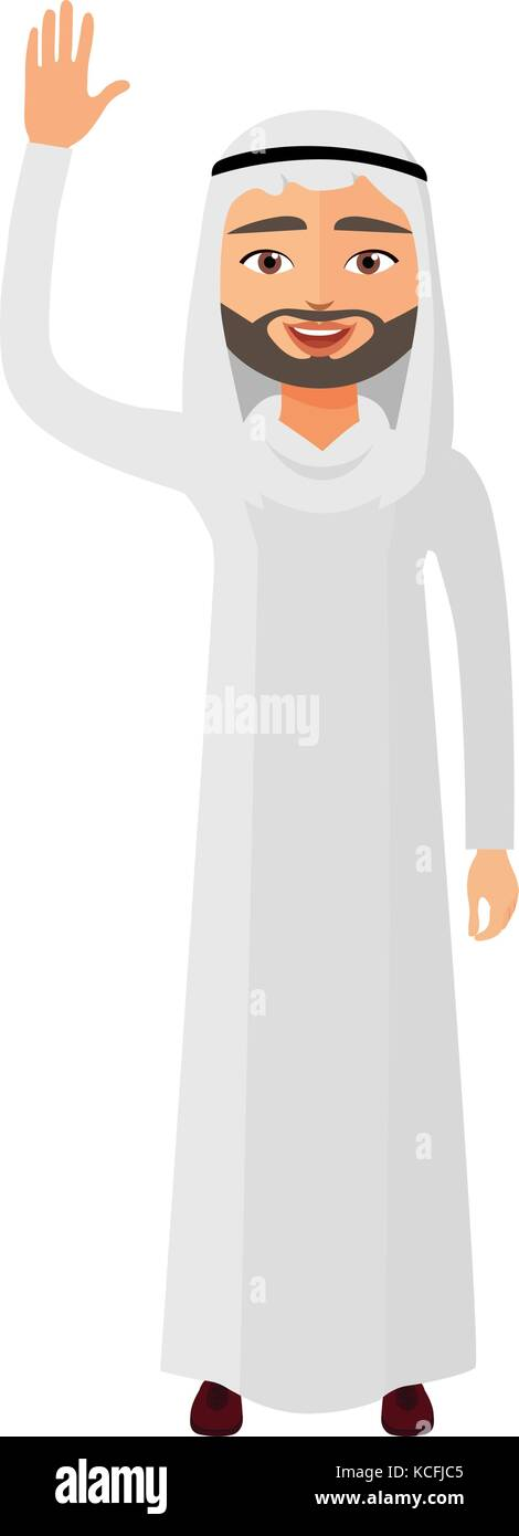 Cheerful young arab iran businessman waving her hand vector flat cartoon illustration. - Stock Vector