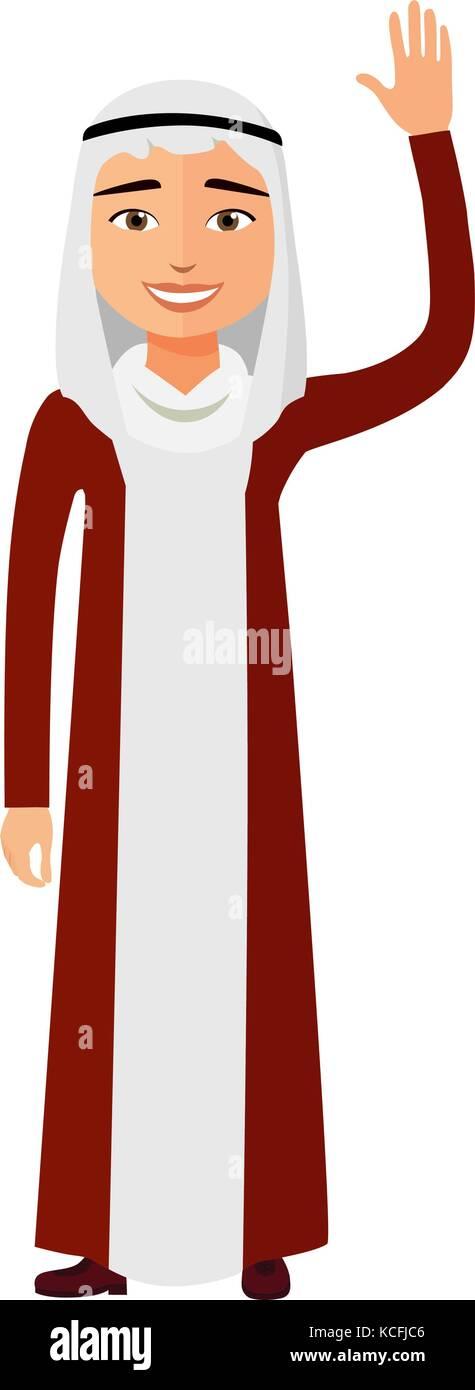 Cheerful young arab business man waving her hand vector flat cartoon illustration. - Stock Vector