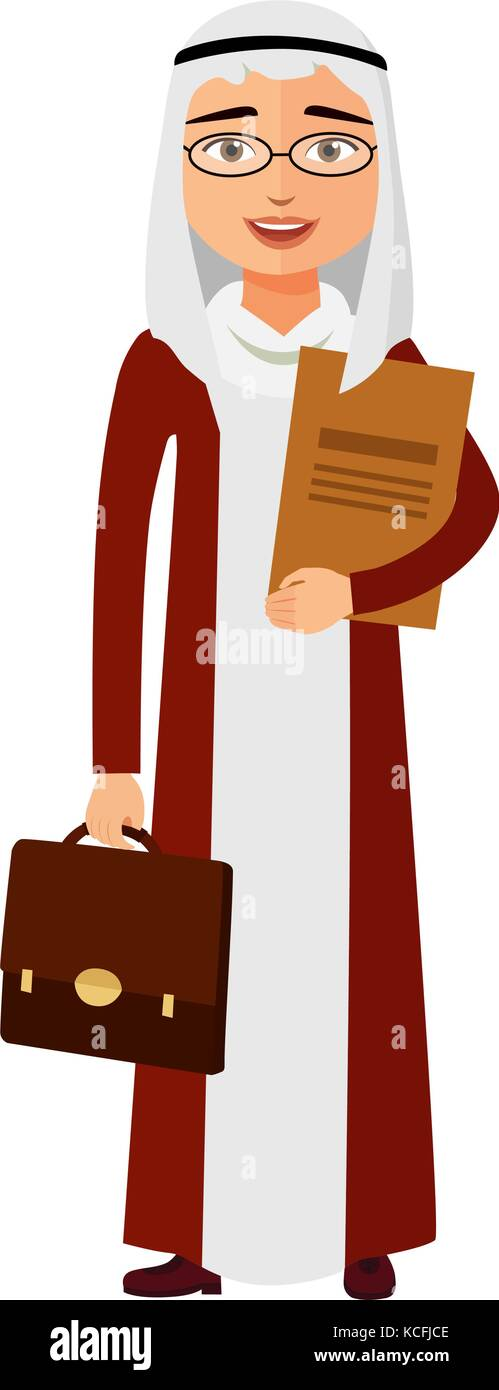 Arab yemen businessman with glasses and briefcase vector flat cartoon illustration. - Stock Vector