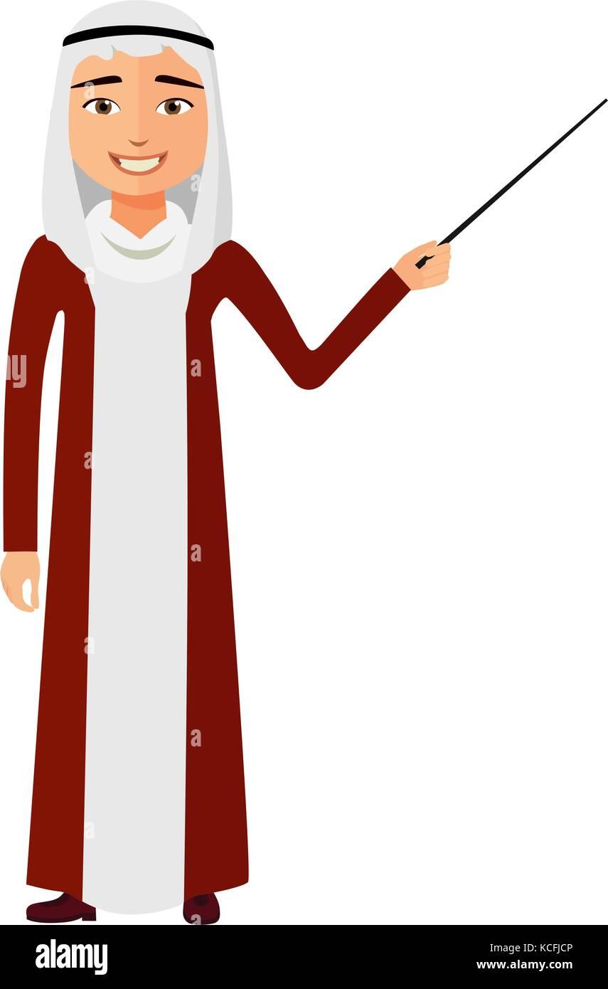 Yemen arab business man with a pointer flat cartoon vector illustration. Stock Vector
