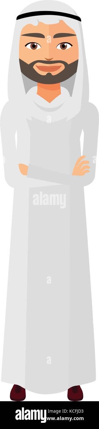 Saudi iran yemen emirates arab business man with crossed arms vector illustration - Stock Vector
