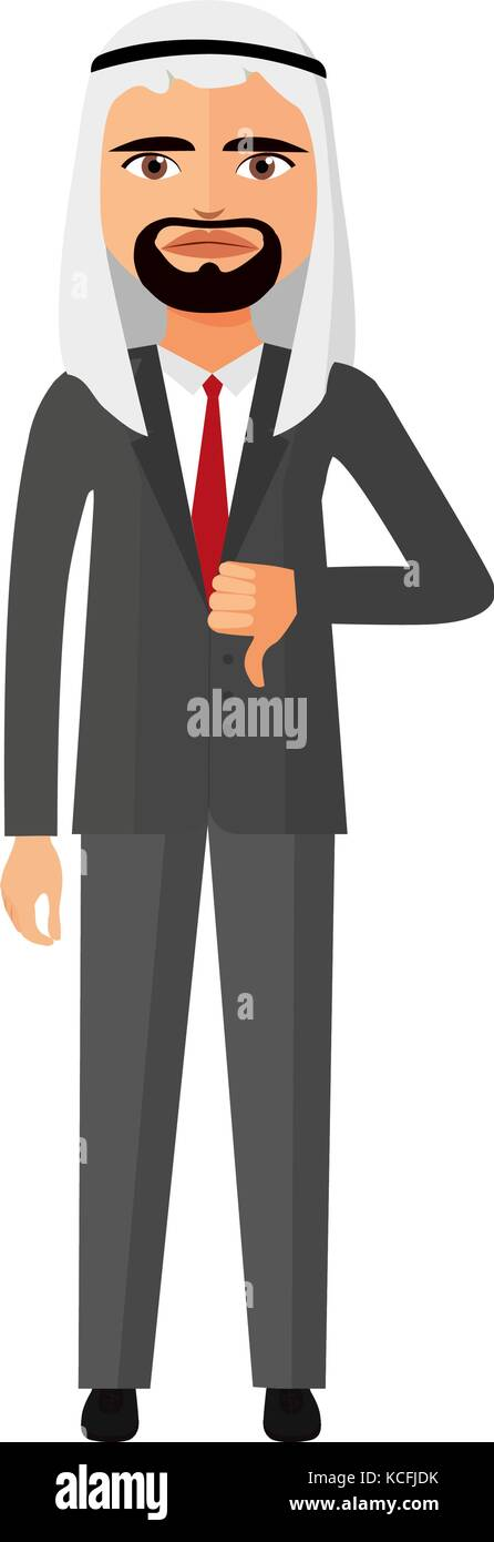 arab emirates angry  business man character vector flat cartoon illustration - Stock Vector