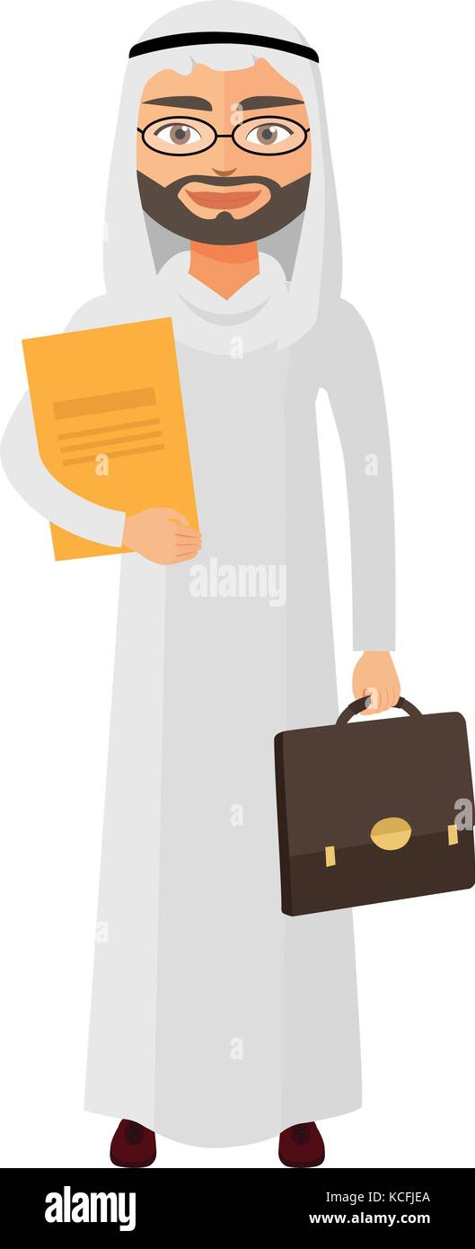 Arab businessman with glasses and briefcase vector flat cartoon illustration. - Stock Vector