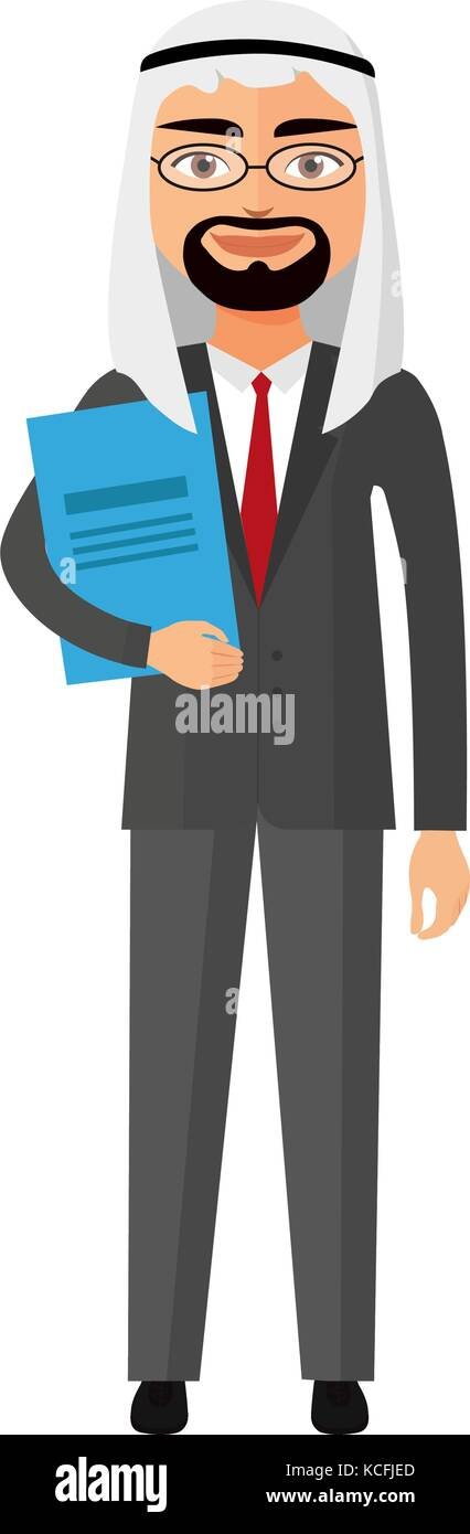 Arab iran businessman with glasses and briefcase vector flat cartoon illustration. - Stock Vector