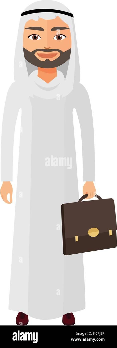 Saudi arab businessman with documents vector flat cartoon illustration. - Stock Vector
