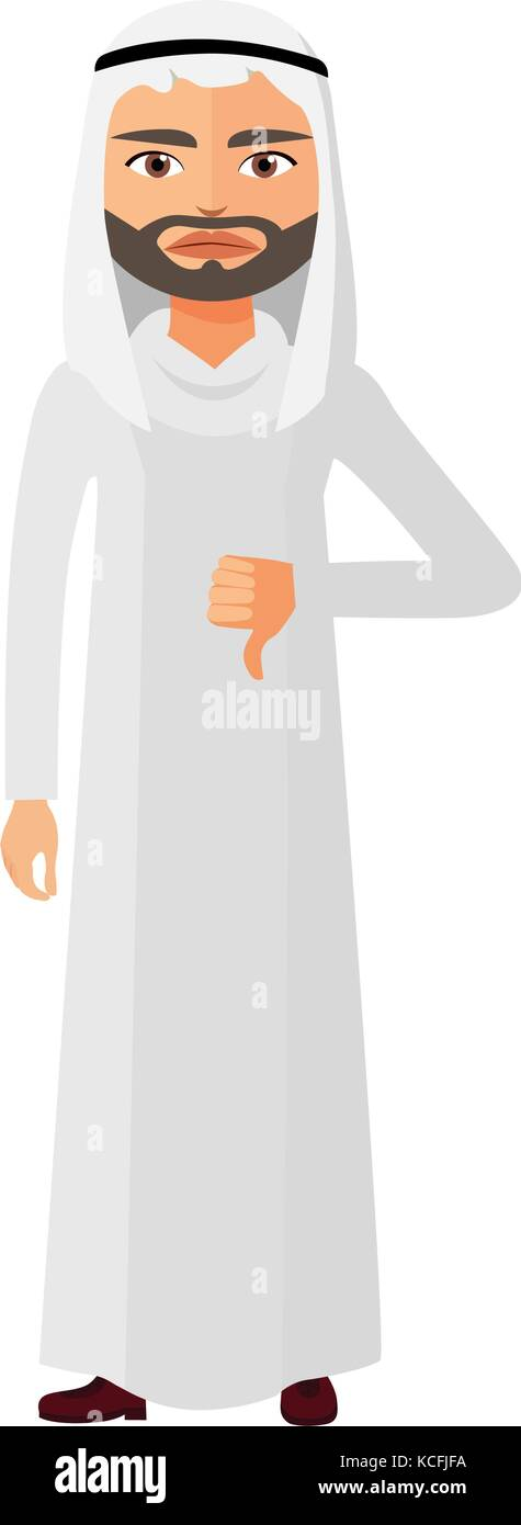 Arab angry business man thumbs down character vector flat cartoon illustration - Stock Vector