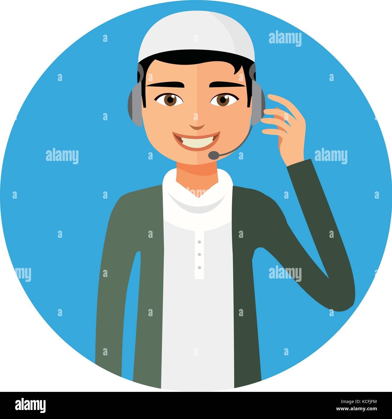Arab yemen operator man with headset customer service helpdesk service. Call center concept  flat cartoon vector - Stock Vector
