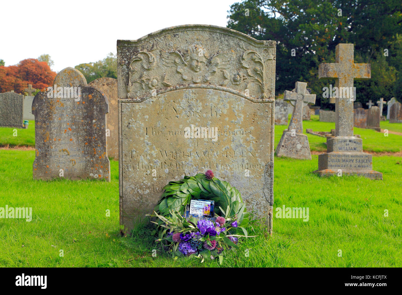 William Green gravestone, 18th century Customs Officer, murdered by Smugglers in 1784, with Border Force wreath, - Stock Image