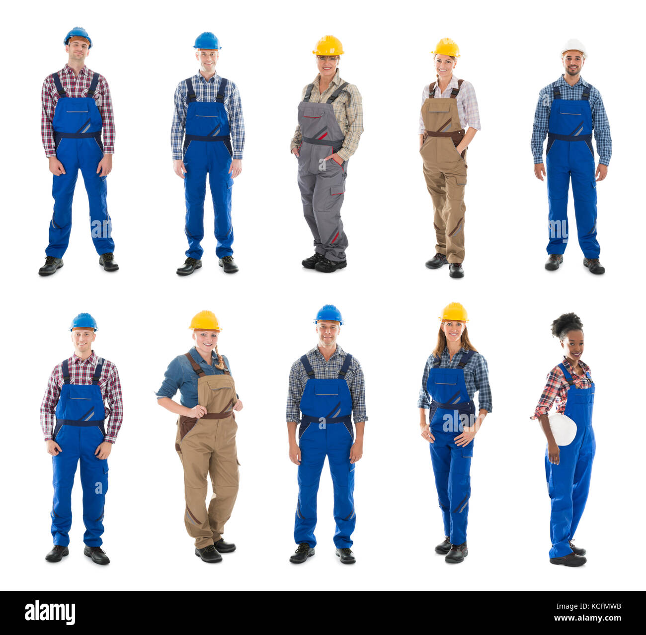 Set Of Construction Workers Standing Against White Background - Stock Image