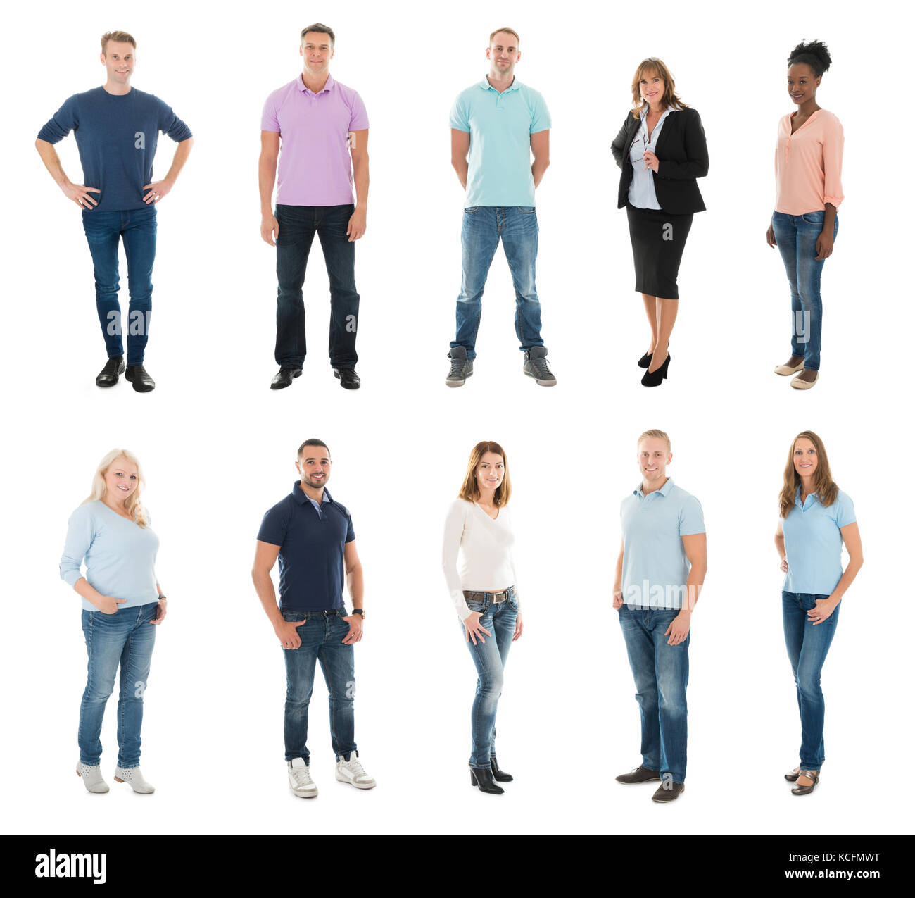 Set Of Happy Creative People Standing With Manager Against White Background - Stock Image
