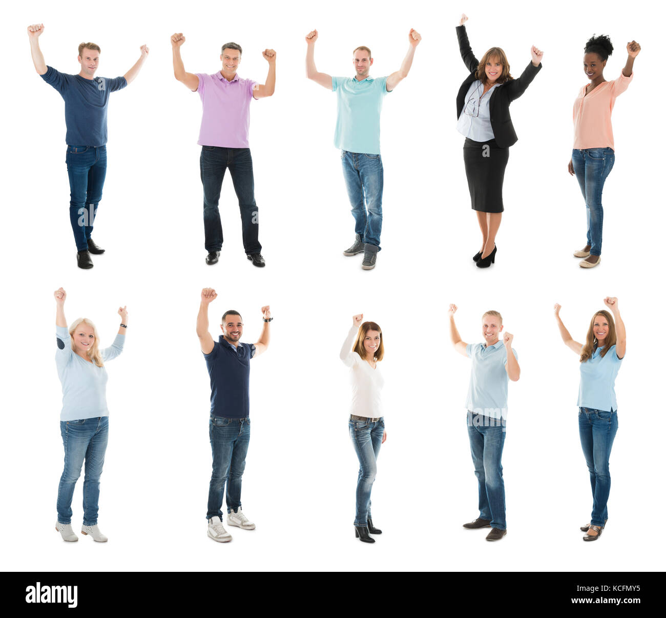 Collage Of Happy Creative People Raising Arms Against White Background - Stock Image