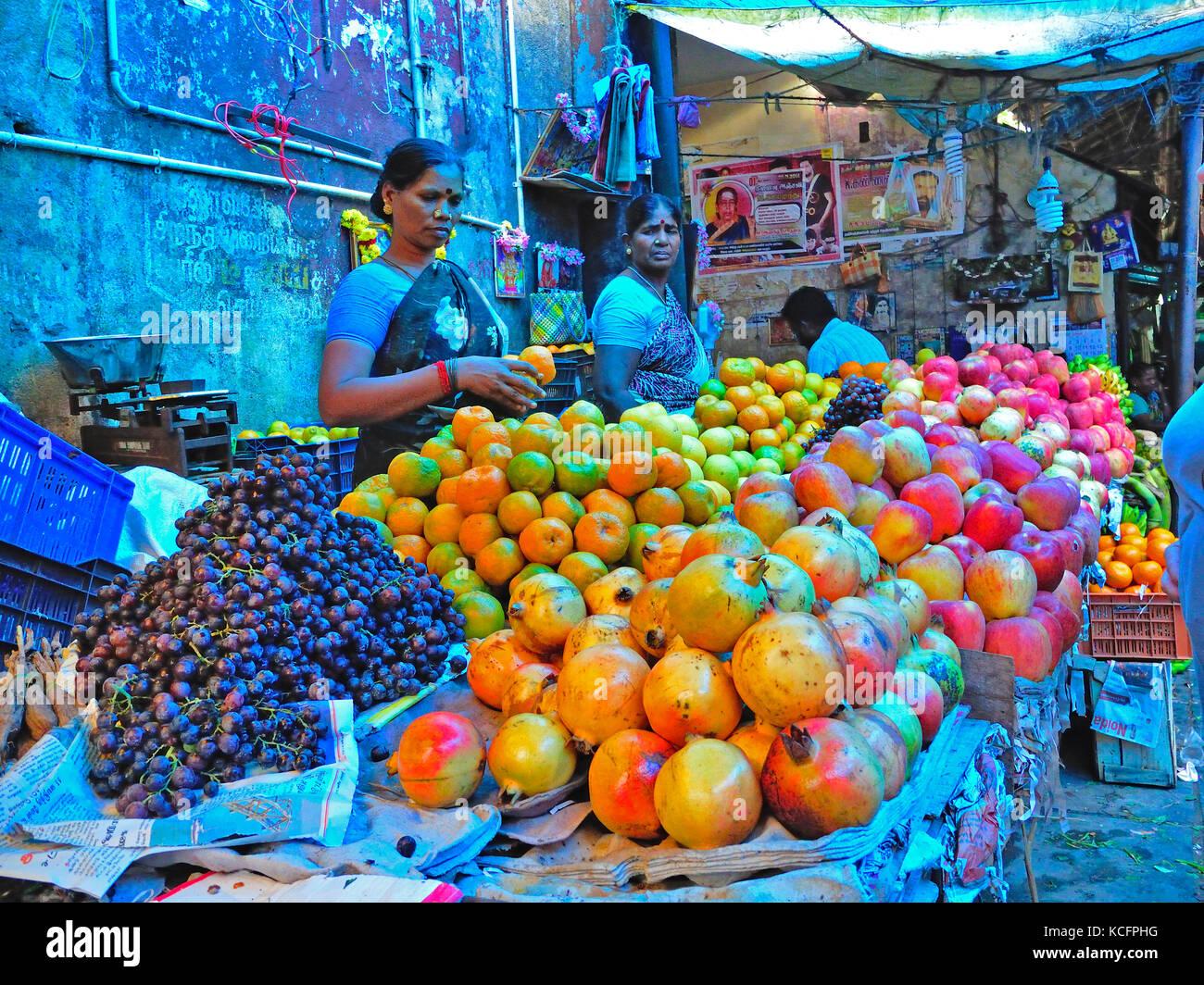 main market, Pondicherry (Puducherry), India Stock Photo