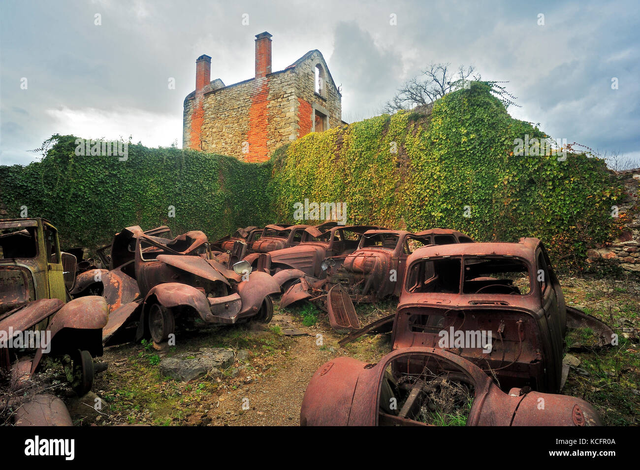 automobile remains, Oradour-sur-Glane, Haute-Vienne Department, Limousin, France - Stock Image