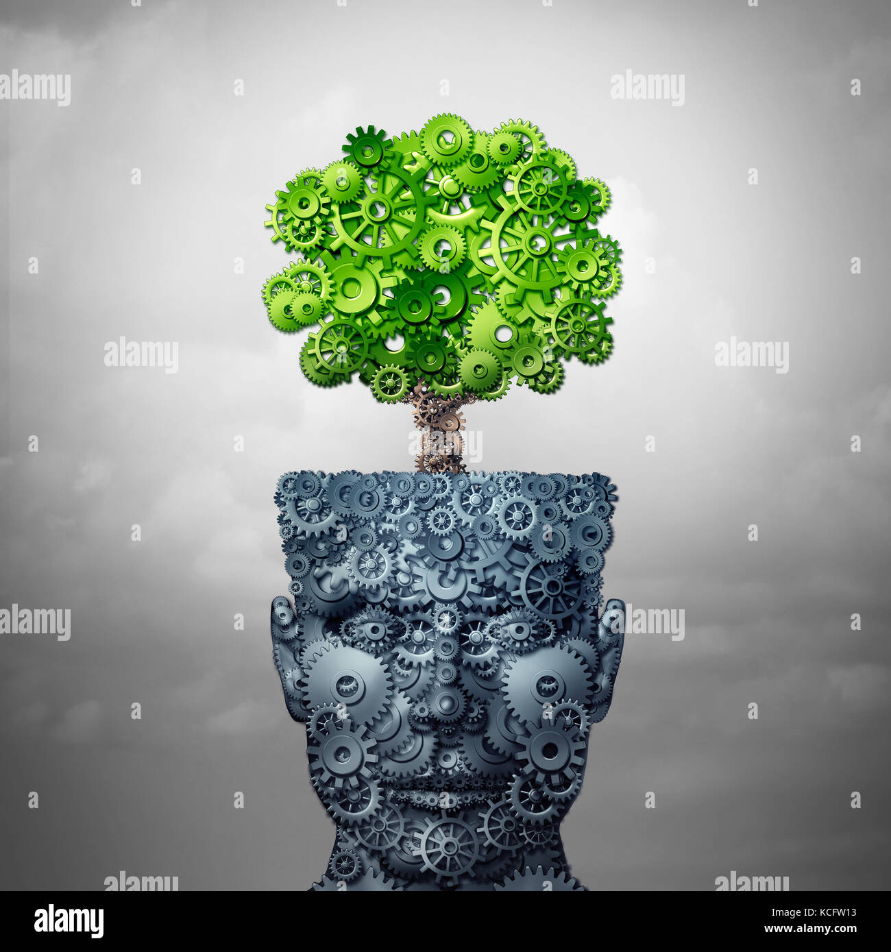 Technology growth and business training and computing development as artificial intelligence concept as a human - Stock Image