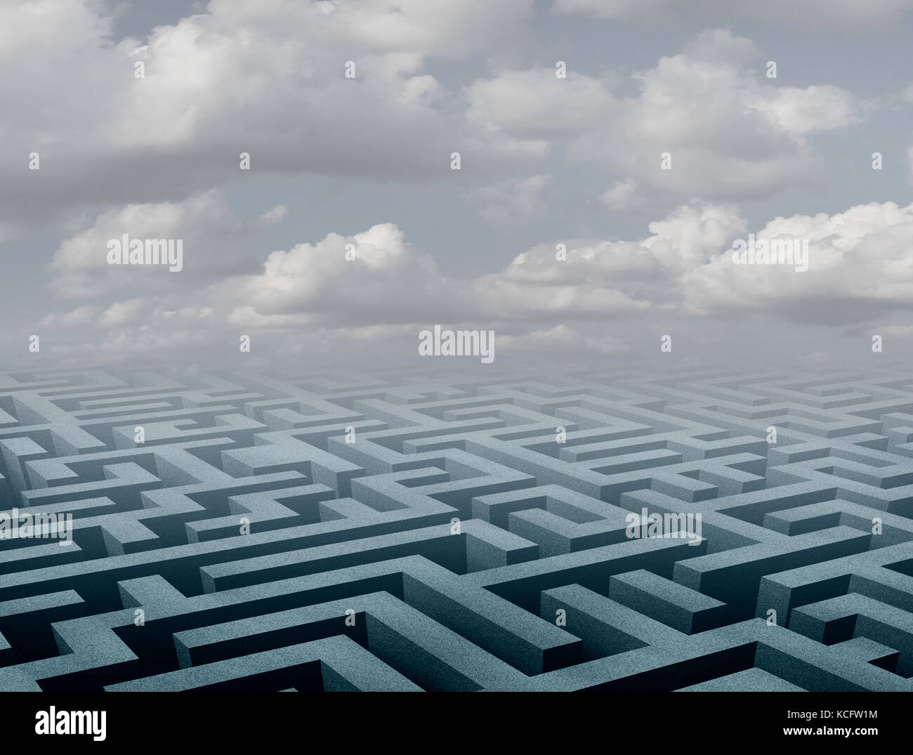 Labyrinth background and abstract maze perspective scene as a 3D illustration. - Stock Image