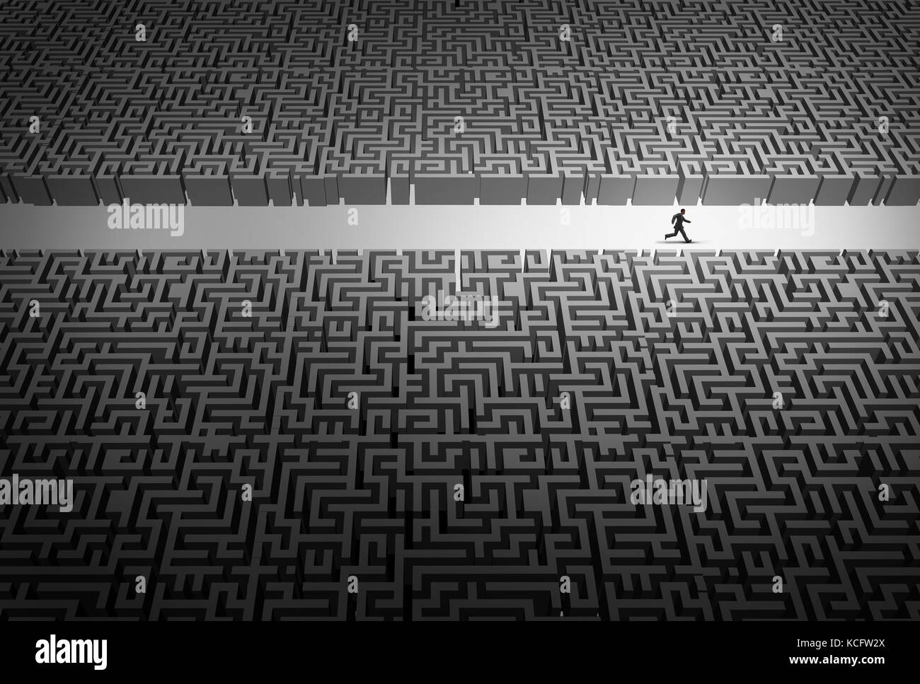 Business strategy pathway concept as a businessman leader running through an opening in a confused labyrinth as - Stock Image