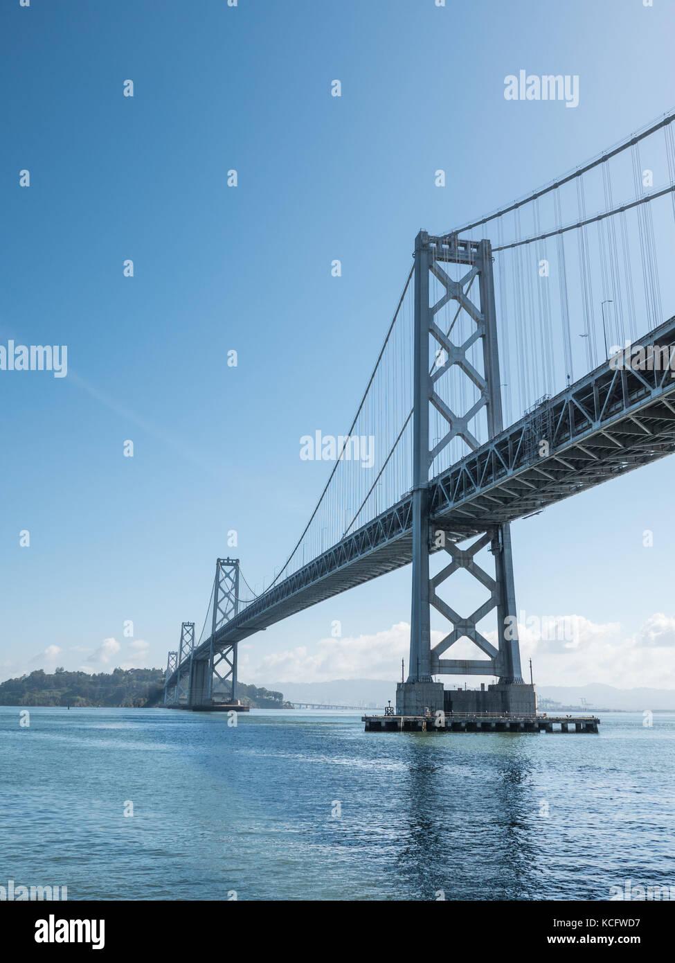 San Francisco April 20, 2017: Photograph taken of the double-deck San Francisco - Oakland Bay Bridge on April 20th, - Stock Image