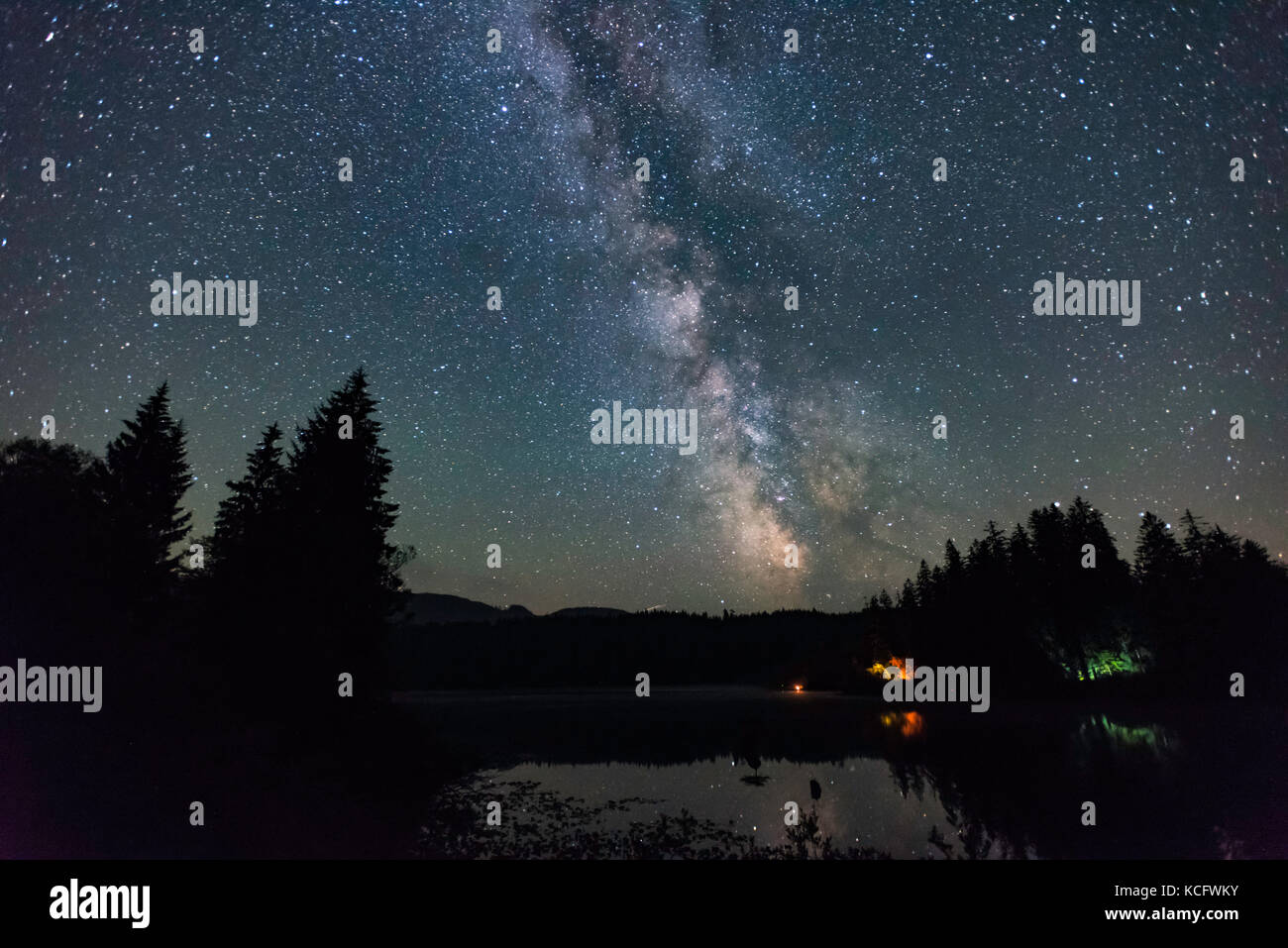 Milky Way, Fairy Lake Rec Site, Port Renfrew, Vancouver Island, BC, Canada - Stock Image
