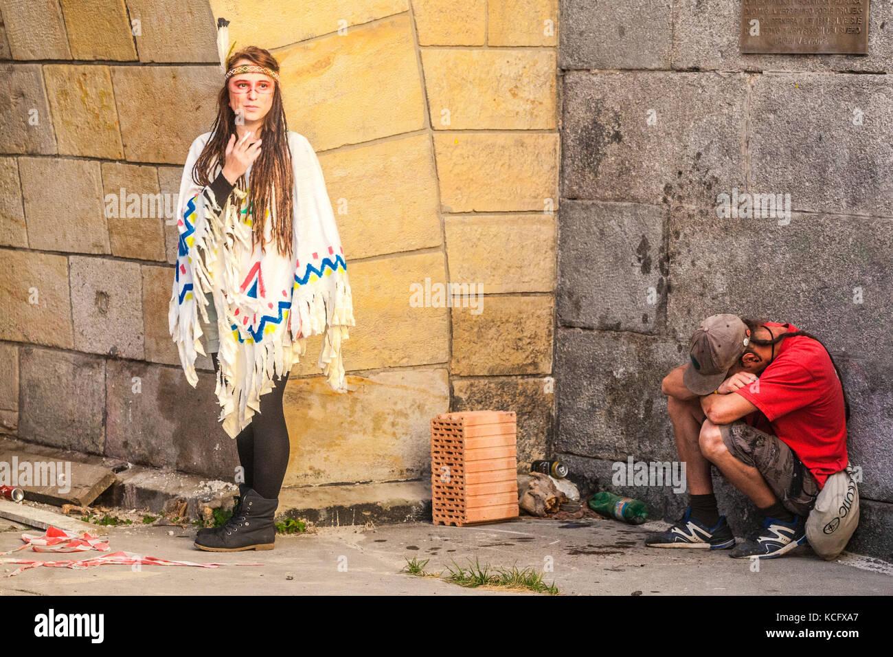 Young girl in Indian costume, Prague, alternative culture, Czech Republic - Stock Image