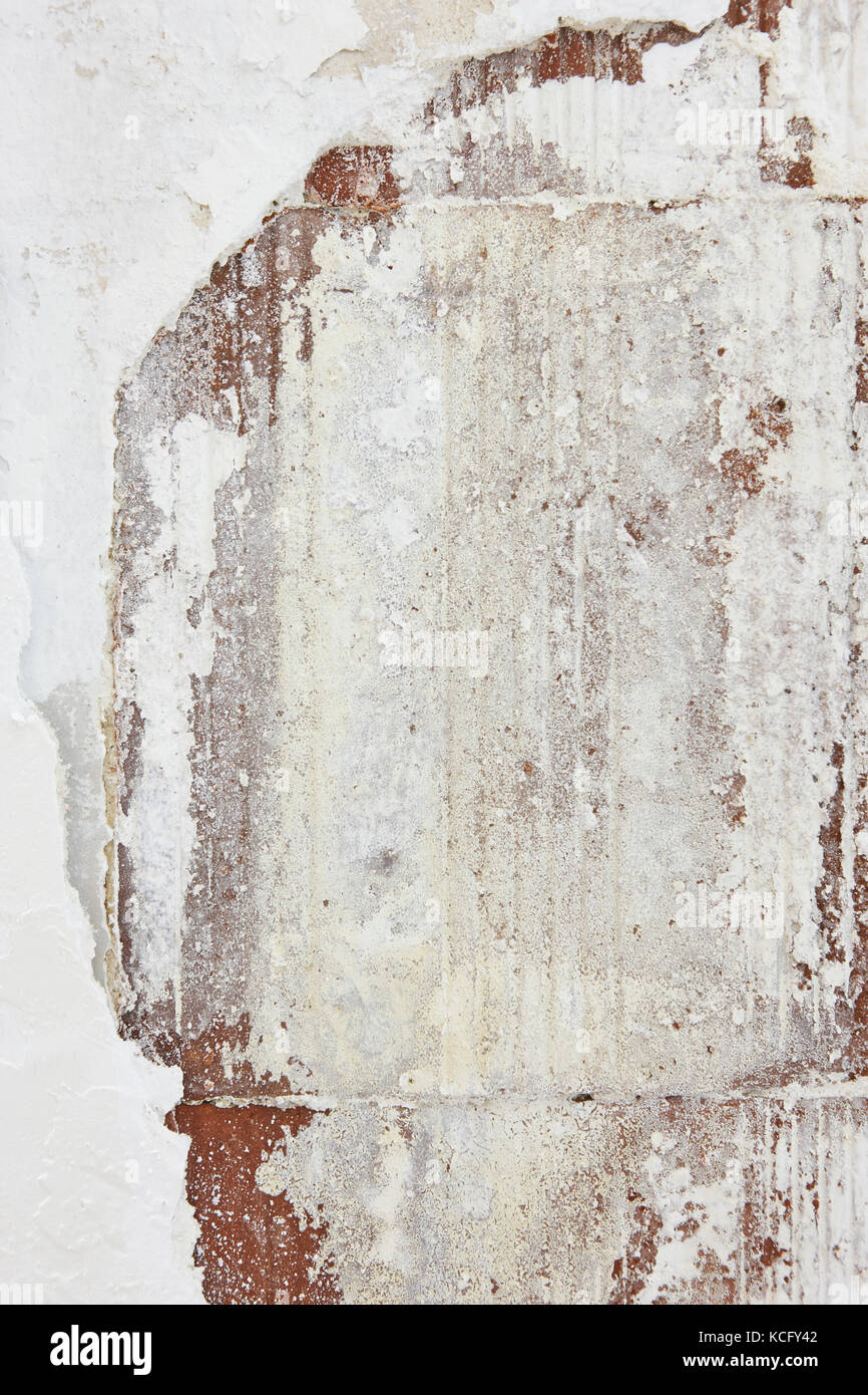 Humidity blob on damaged wall. Home brickworks. Detail - Stock Image