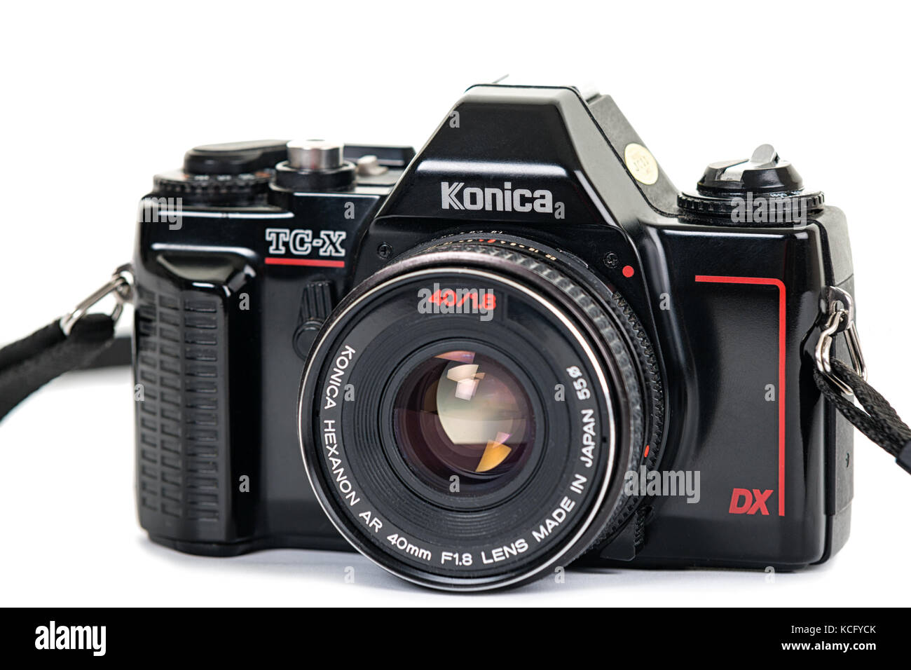 Black Konica TC-X analogue SLR camera with Konica Hexanon AR 40mm f/1.8 lens isolated on white background  Model - Stock Image