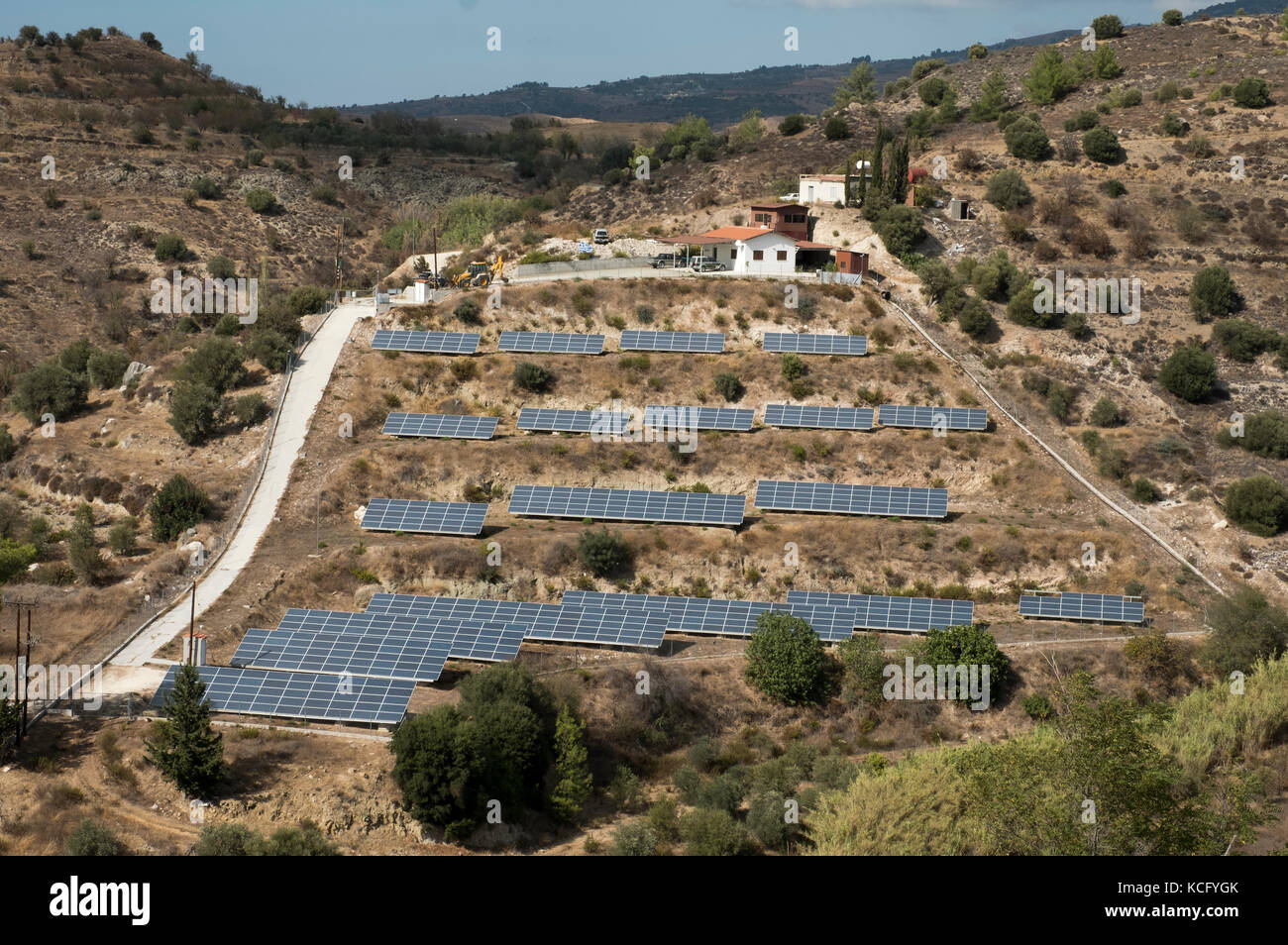 A small solar farm in the Paphos region of the Republic of Cyprus - Stock Image