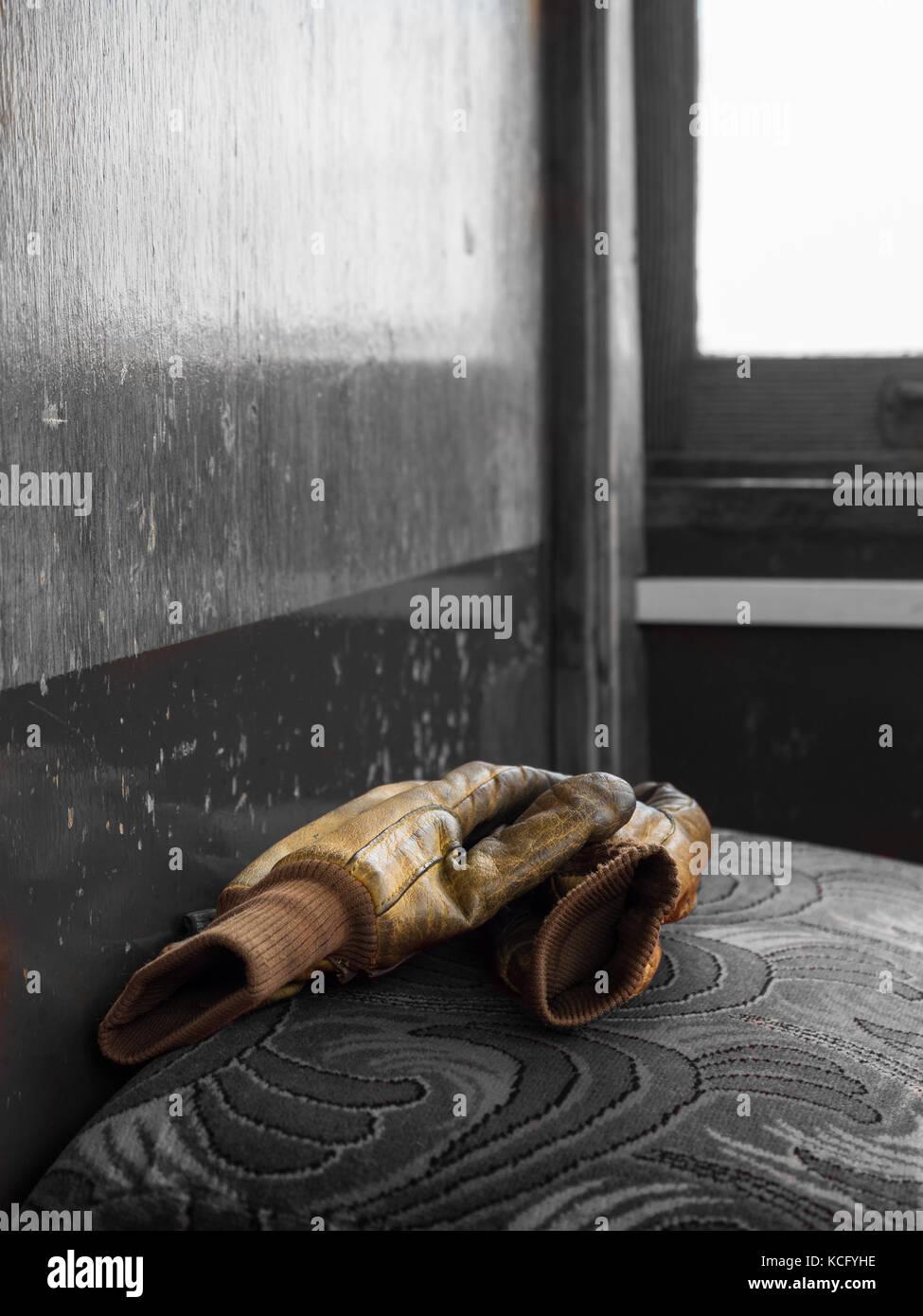 Tram driver's gloves, Manx Electric Railway, Isle of Man. - Stock Image