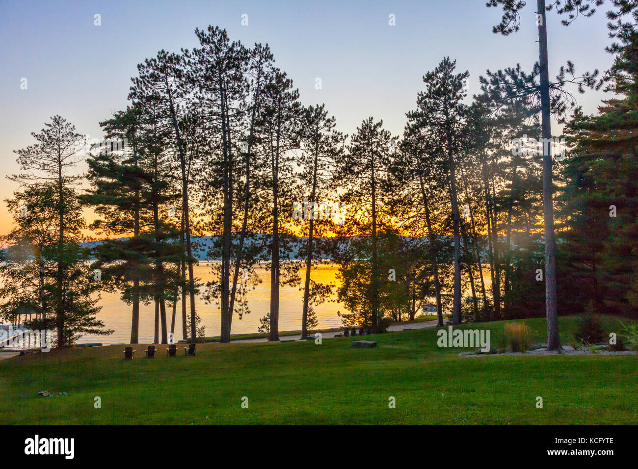 Sunset at Canada,Ontario,Huntsville,Dwight, Dwight Beach sommer playground in Ontario's North in Cottage Country - Stock Image