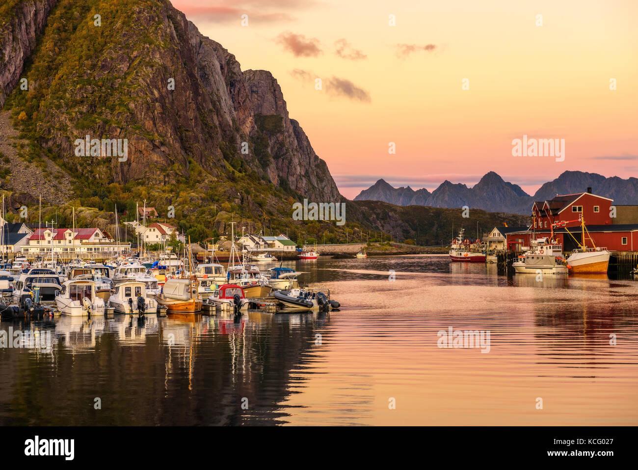 Many yachts anchored at the Marina of Svolvaer on Lofoten islands in Norway - Stock Image